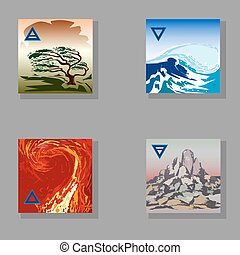 four elements - symbolic image of the four elements of...