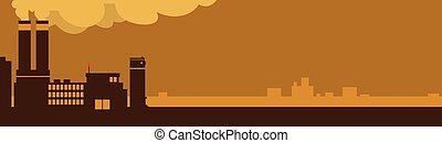 Big Factory, Plant With Smoke Pipe Horizontal Banner Copy Space