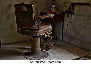 Old barber chair, retro style