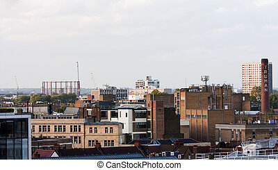 bethnal green and brick lane - london skyline looking from...