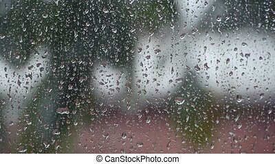 Raindrops at daytime - Raindrops on the window at daytime...