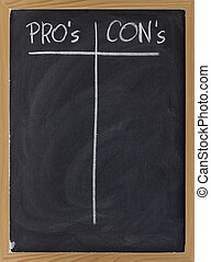 blank list of pro and contra arguments - pros and cons,...