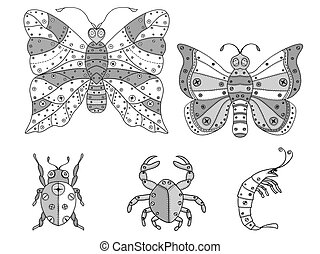 Tangle Patterns insects illustration.