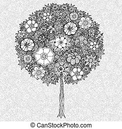Tree with leaves with flowers Coloring book page for adults...