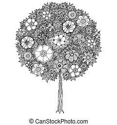 Tree with leaves and flowers. Coloring book page for adults....