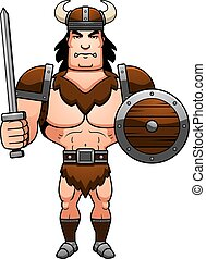 Cartoon Barbarian Battle - A cartoon illustration of a...