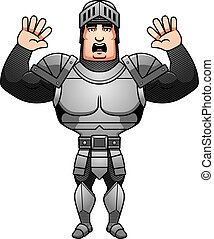 Cartoon Knight Surrender - A cartoon illustration of a male...