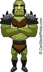 Cartoon Orc Arms Crossed - A cartoon illustration of a orc...
