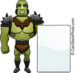 Cartoon Orc Sign - A cartoon illustration of a orc man with...