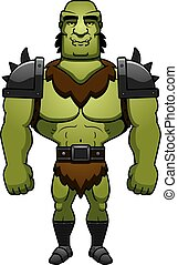 Cartoon Orc Smiling - A cartoon illustration of a orc man...