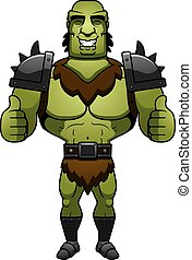 Cartoon Orc Thumbs Up - A cartoon illustration of a orc man...