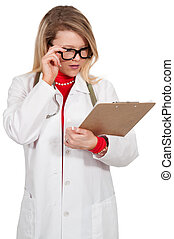 Woman Doctor with patient records - Beautiful young female...