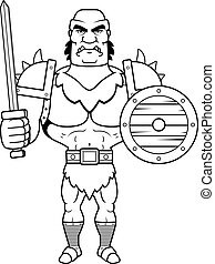 Cartoon Orc Battle - A cartoon illustration of a orc man...