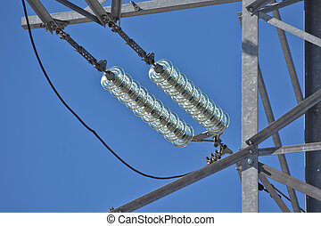 Insulators power lines Photo of power lines against the blue...
