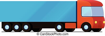 Vector isolated red truck with blue cargo trailer flat...