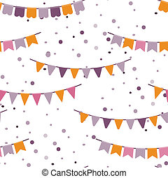 Bunting party flags garland seamless vector pattern. Good...