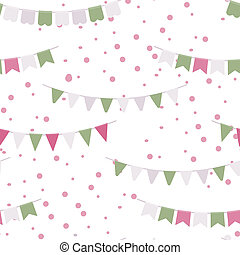 Bunting party flags garland seamless vector pattern Good...