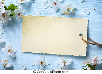 art Spring floral background with white blossom