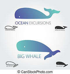 Blue Whale logos set. Concept fish logo. Simple icon or...