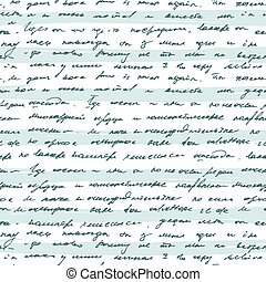 Seamless pattern with handwriting text on blue striped...