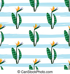 Vector bird of the paradise flowers seamless pattern....