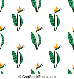 Vector bird of the paradise flowers seamless pattern...