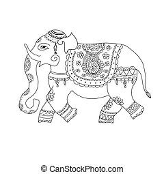 Vector illustration of elephant in ethnic style. Indian...