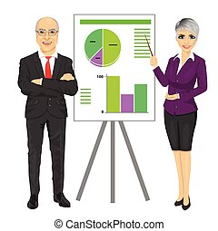 senior business man with arms folded and young woman making presentation with graphs on board