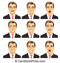 set of different expressions of the same middle aged...