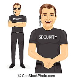 professional security guard with two different pose isolated...