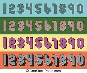 Vintage numbers - Vector Illustration of vintage geometric...