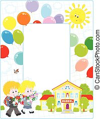Frame with schoolchildren and a sch - Vertical vector frame...