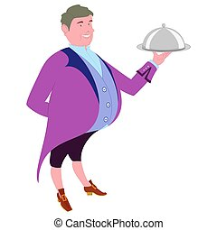 Footman with dish for quests - waiter in tails offers a...