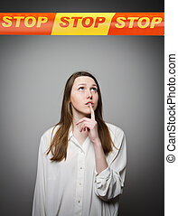 Girl and STOP line - Woman and STOP line over her head...