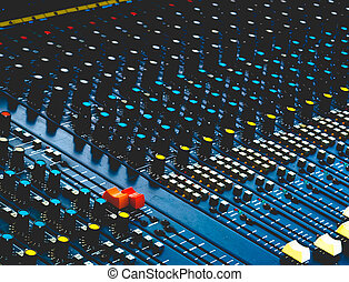 Soundboard mixer with altered colours - Detail of a...