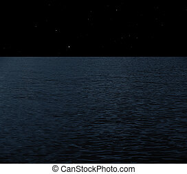 Full moon at sea - Sea at night with starry sky collage
