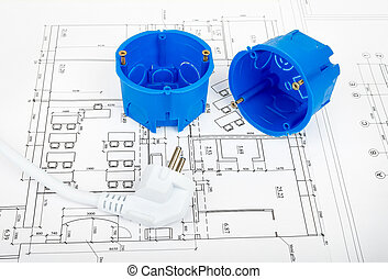 Architecture plan and rolls of blueprints with plug and...
