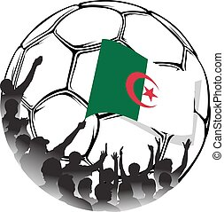 Soccer Fans Algeria - Vector illustration of a group of...