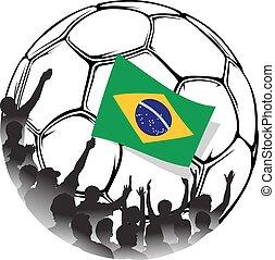 Brazil Soccer Fans Waving national flag