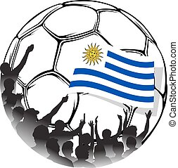 Soccer Fans Uruguay - Vector illustration of a group of...