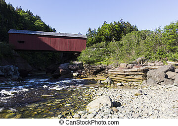 Covered bridge in Fundy National Park in New Brunswick in...