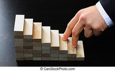 escalando, feito, escadas, mão