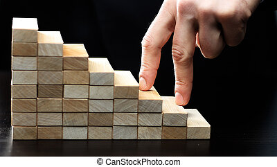 escalando, escadas, mão