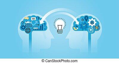 Exchanging ideas - Flat line design website banner of...