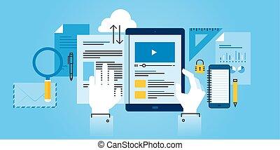 E-learning - Flat line design website banner of e-learning....