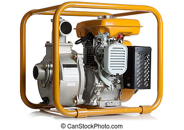 Pump for water with the gasoline engine on a white...