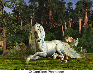 MAGIC WOODLAND - A unicorn stag lays down to rest among the...