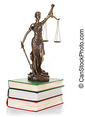 Statue of justice  isolated on the white background