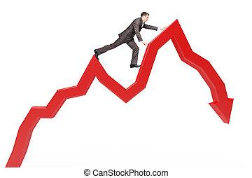 Businessman climbing red arrow