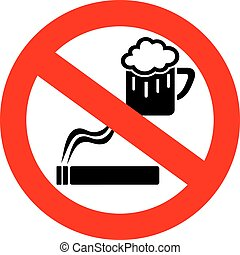 No drinking and smoking sign isolated on white background